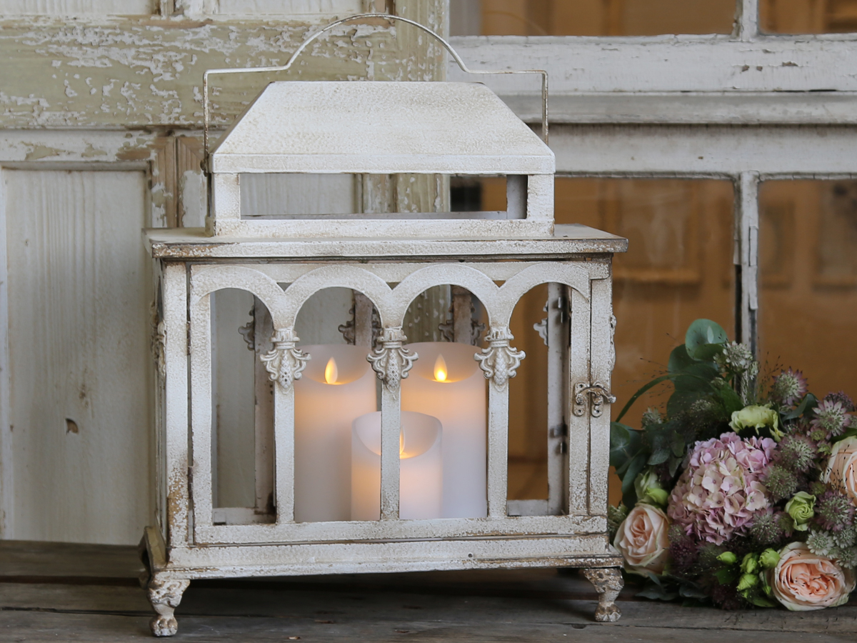 Laterne cathedrale 43x35x20cm antik wei patina brocante - Raffgardinen landhausstil ...