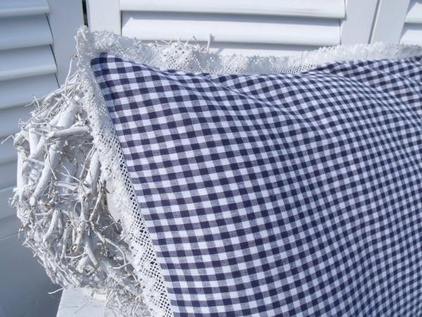 Kissenbezug Kopfkissen Noa 50x70 Cm Blau Weiß Kariert Baumwolle