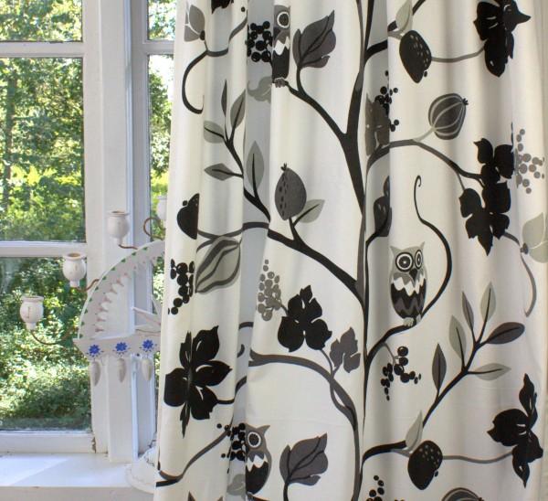 Vorhang EULE schwarz offwhite Gardine 115x240 cm 2 Stück