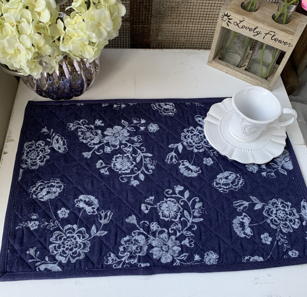 Tischset Platzset JEANS Blau 2 Stück 48 x 33 cm Jeans-Style Blumen Landhaus