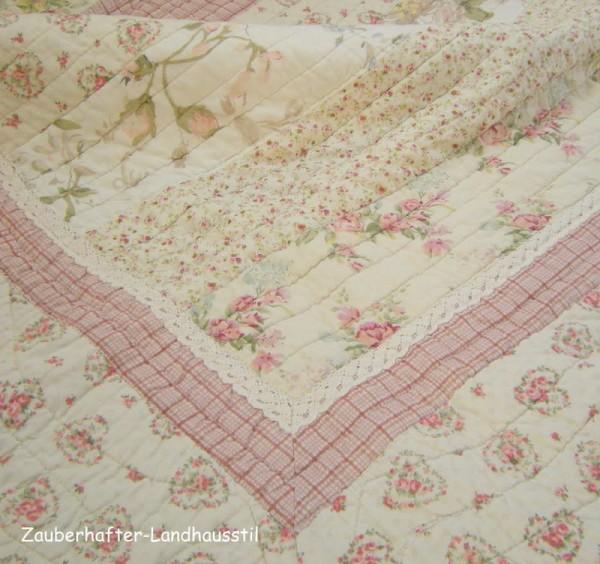 Tagesdecke Z CHRISTINE 180x260 cm Rosa Creme Einzelbett Sofaüberwurf