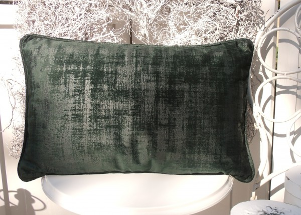 Samt Kissen Bezug Hülle CHARME 30x50 cm GRÜN Glanz Schimmer Polyester