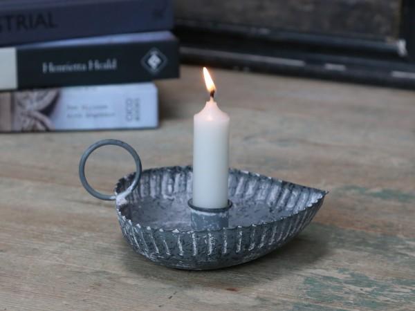 Kerzen Kammer Leuchter Herzform grau Metall Landhaus
