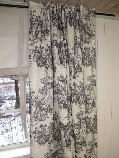 Vorhang Toile Schwarz Beige Gardine 140x240 2 Stück Romantik Landhaus Shabby