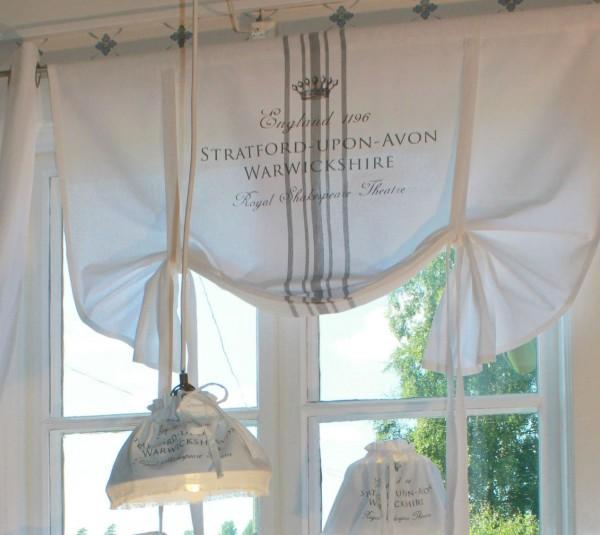 Raff Gardine STRATFORD WEISS Grau 180x120 cm Vintage Shabby Landhaus
