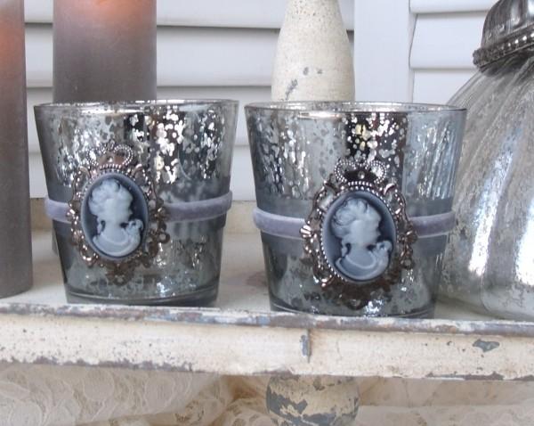 Teelichthalter Glas PRINCESS 2er Set Bauernsilber Kamee Samtband Weihnachten Advent