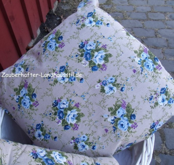 kissen rose blau mit inlett 50x50 cm deko blumen floral kissen mit inlett kissen. Black Bedroom Furniture Sets. Home Design Ideas