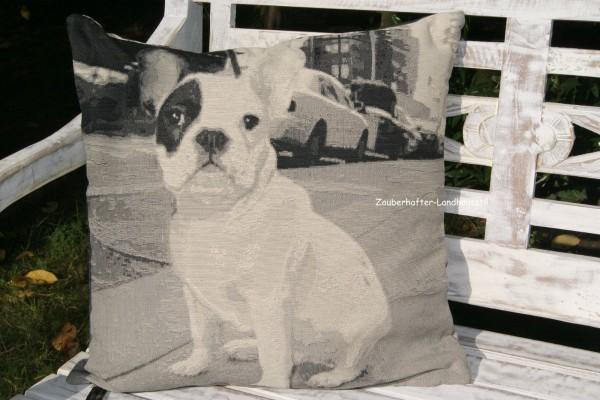 Kissenbezug EMILIA Dekokissen Bulldogge Mops Sofakissen Grau Baumwolle Polyester