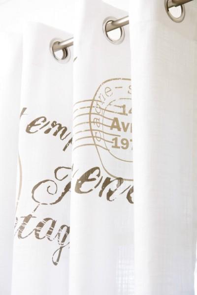 Gardine NICE SAND 1 x 140 x 250 cm BxL(H) Ösen Schal Weiß Landhaus Vintage Shabby Vorhang