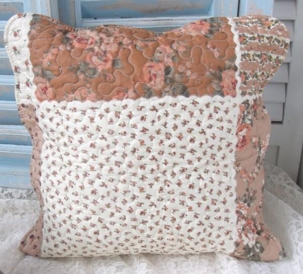 Kissenbezug DORA 40x40 cm Creme Braun Natur Blumen Rosen Polyester Baumwolle