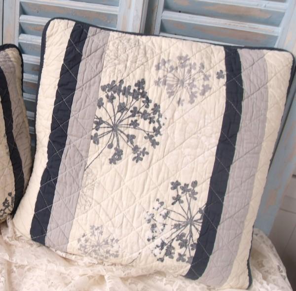 Kissenbezug Pusteblume 50x50 cm blau creme grau Blumen floral Baumwolle