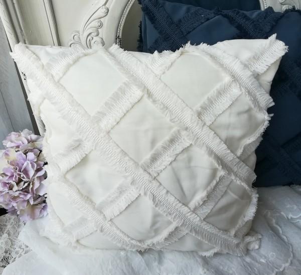 Kissen Bezug Neyla 45x45 Weiß Hülle Landhaus Shabby