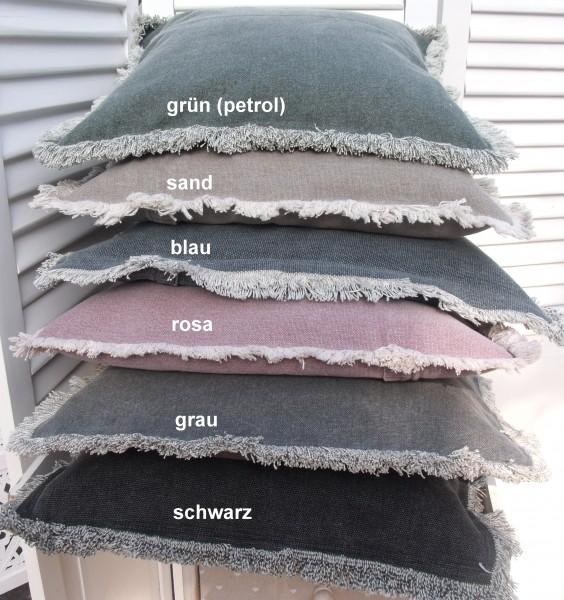 Kissenbezug YOU 45x45 cm diverse Farben Used-Look Loft Vintage Shabby Baumwolle