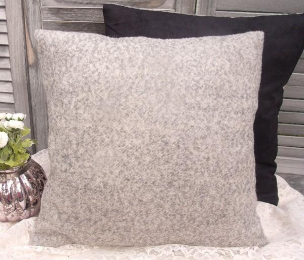 Kissenbezug ULLA HELLGRAU 45x45cm meliert Wolle Acryl Polyester