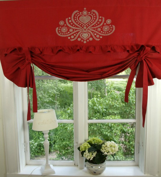 raff gardine herzig rot rollo 160x100 cm raffgardinen. Black Bedroom Furniture Sets. Home Design Ideas