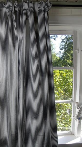 Vorhang PAMELA BLAU CREME Gestreift 120x250 cm 2 Stück Vorhangschals Marine