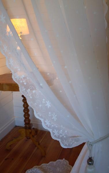 B Ware OFFWHITE Gardinen Schal JADE NR 1 200x250 cm BxH(L) Bestickt Shabby Vintage Landhaus Bandau