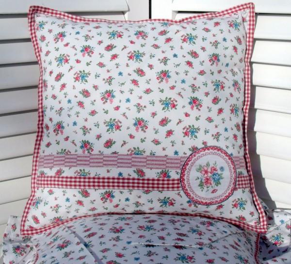 kissenbezug summerdream 40x40 cm wei rosa blumen floral karo kissenbez ge kissen. Black Bedroom Furniture Sets. Home Design Ideas