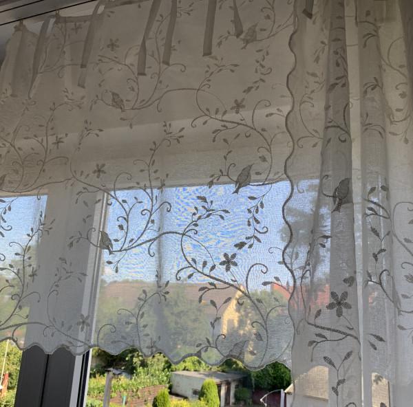 Gardine Kurz Scheiben NEW BIRD OFFWHITE Bestickt 130x80 cm BxL(H) Shabby Vintage Landhaus-