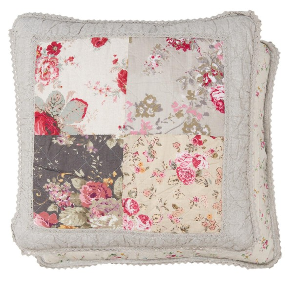 Kissenbezug NATUR PATCH 50x50 cm Naturtöne Rot floral Baumwolle Polyester