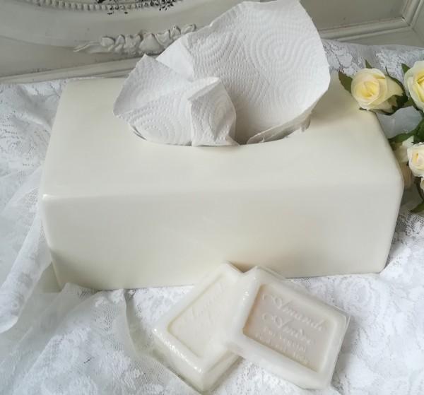 Kosmetiktücher Box Kleenex PURE creme Tissuebox Keramik Shabby