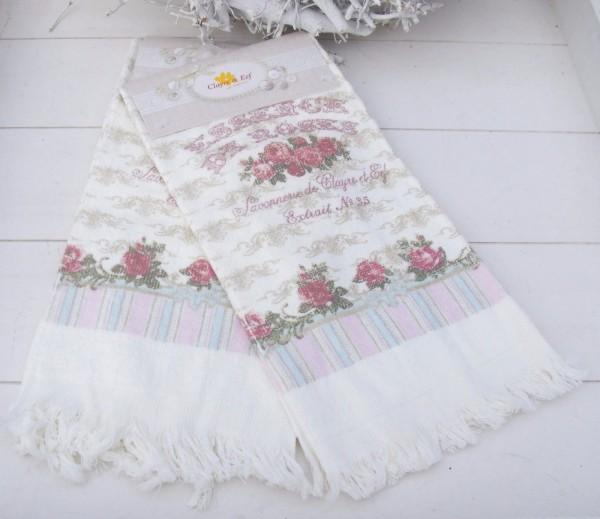 Handtücher Landhausstil gästehandtuch de roses creme rosa grün sand 40x60 cm handtücher