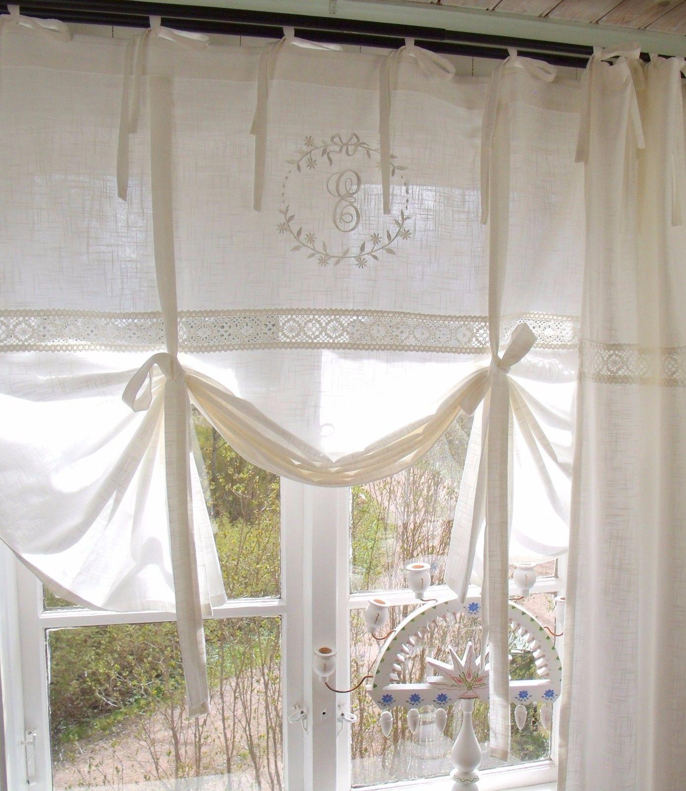 Raff gardine emilia offwhite bestickt 80x120 cm raffgardinen rollos gardinen - Gardinen landhaus ...