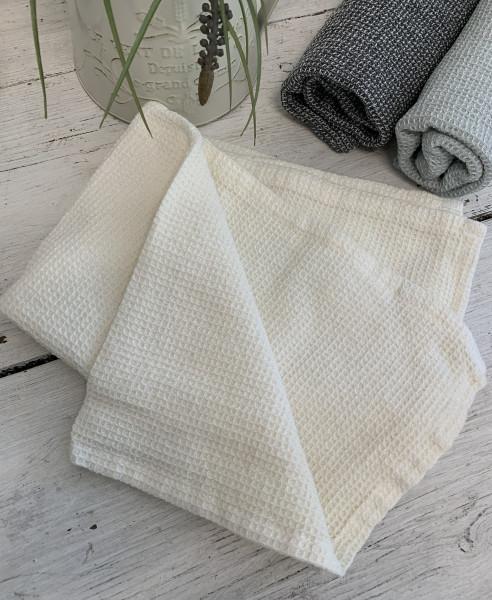 Geschirrtuch WILMA OFFWHITE CREME Trockentuch 50x70 Handtuch Waffelpique