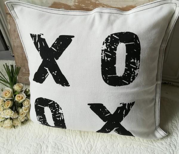 Kissenbezug XOXO offwhite,Schwarz 45x45 Kissen Hülle Laudhaus
