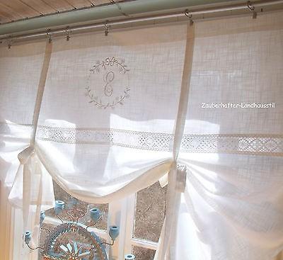 Raff Gardine AMALIE SAND Rollo 180x100 Bestickt LillaBelle Shabby Landhaus
