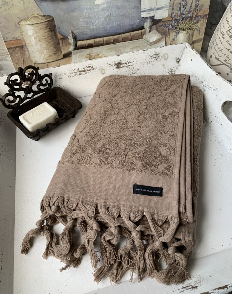 Handtuch DINA Braun 50x70 cm Frottee Handtuch Fransen Baumwolle