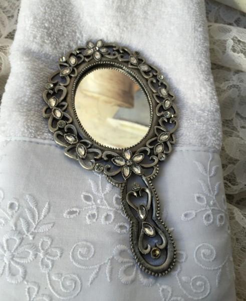 Handspiegel mit Glitzersteinchen 14x8cm Herzchen Taschenspiegel dekorativ verziert elegant