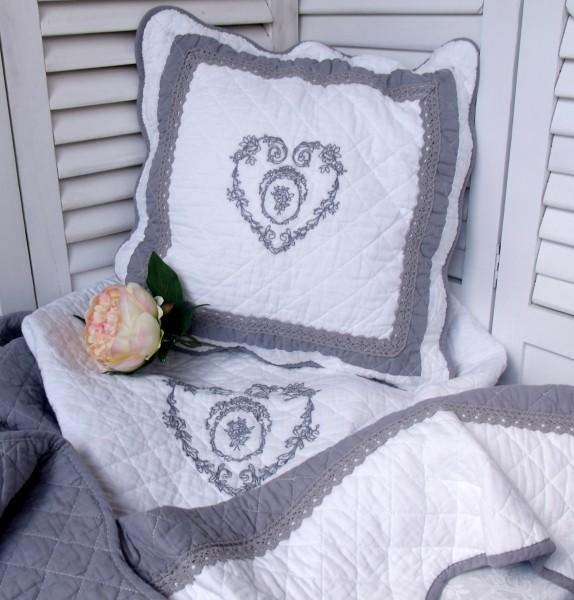 Kissenbezug King Grey 50x50 Cm Weiß Grau Herz Landhaus Brocante Vintage Baumwolle