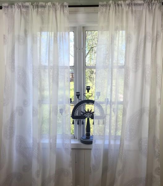 Vorhang SOPHIE GRAU Weiß Offwhite Gardine 140x240 cm Gardine Dekoschals Paisley Gardinenschals
