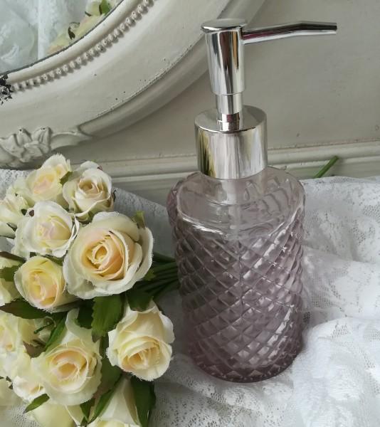 Seifenspender ROSA Glas gemustert 13x7cm
