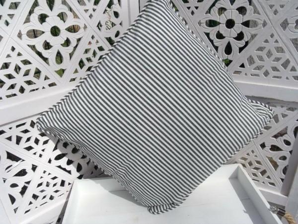 Kissen Bezug Hülle Pamela SCHWARZ Streifen 45 x 45 cm Baumwolle Landhaus