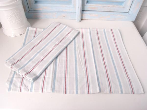 Geschirrtuch KITCHEN Streifen Trockentuch creme blau rot 50x70 cm