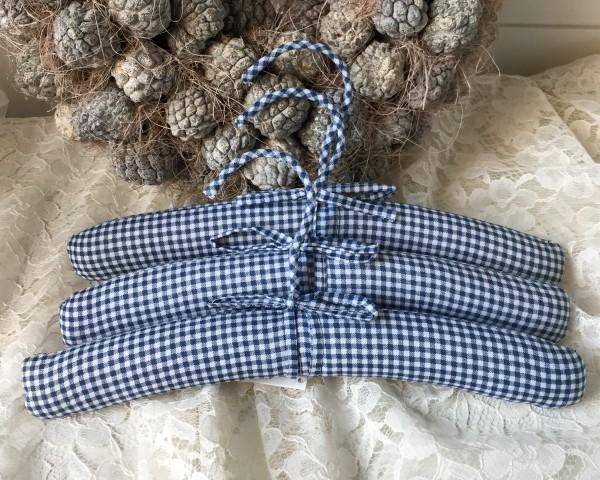 Kinder KleiderbügelVichykaro blau weiß