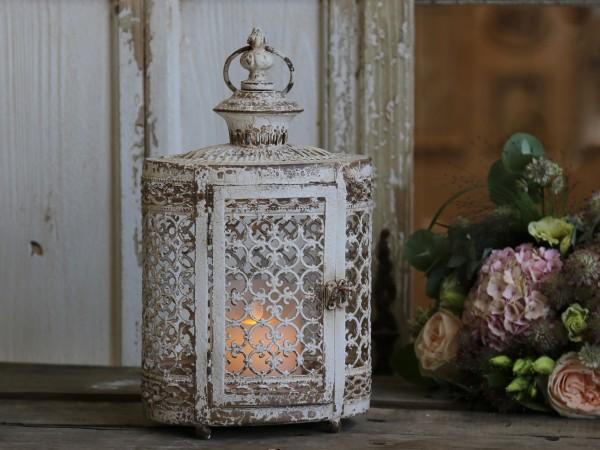 Laterne ORIENT 32x19cm antik weiß Ornamente Patina Brocante Windlicht Shabby Landhaus