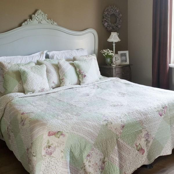 Tagesdecke LILIA 230x260 Creme Grün rosa Doppelbett Überwurf Einzelstück