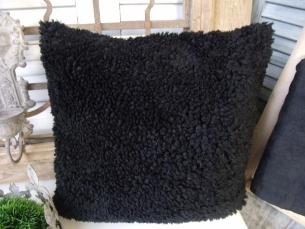 Kissenbezug ALEX FLAUSCH SCHWARZ 45x45cm Plüsch Lammfelldesign Polyester