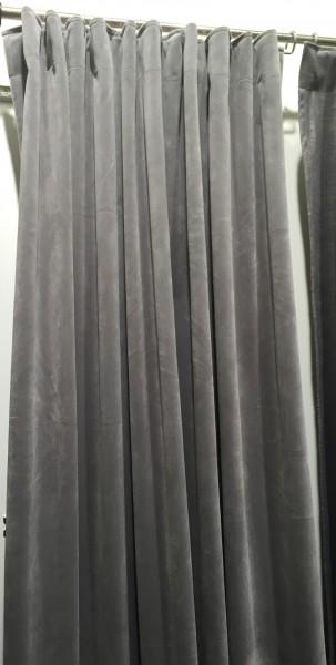 Vorhang GABRIELLA Samt Hell Grau 140x280 cm 2 Stück Blickdicht