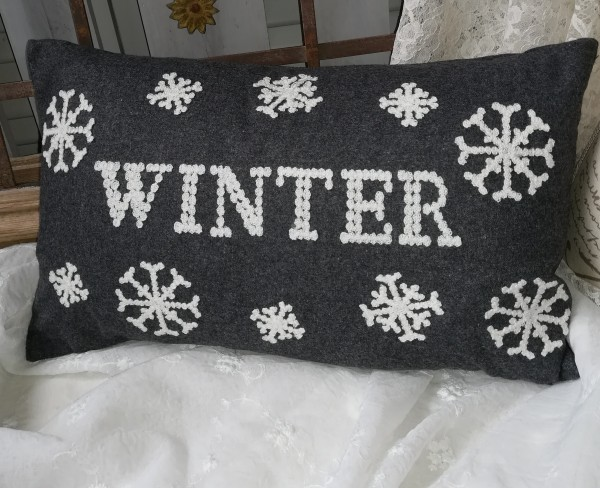 Kissen Bezug Hülle WINTER Grau weiß bestickt 30x50 Weihnacht