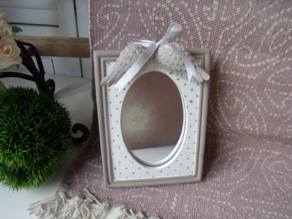 Spiegel FLÜGEL 21x15cm Tischspiegel Weiß Taupe Punkte Aufsteller Vintage