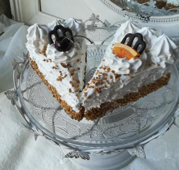 DEKO Tortenstücke Orangen mit Kirsche 2 Stück Cup Cake Torte Landhaus Orange Kirsche