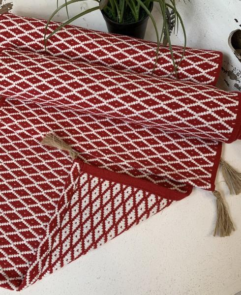 Tischläufer LISSI Rot Weiß 35 x 120 cm 100% Baumwolle Landhaus