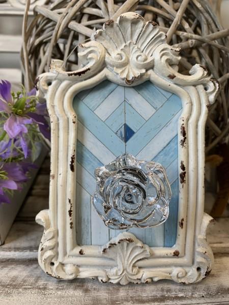 Kleider Handtuch Haken Bilderrahmen ROSE 13 x 4 x 19 cm Offwhite Blau Shabby Landhaus
