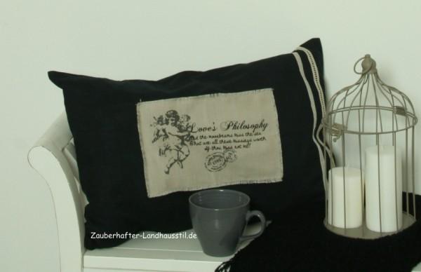 Kissenbezug ENGEL SCHWARZ 40x60cm Romantik Landhaus Baumwolle