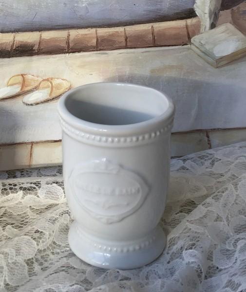 Zahnputzbecher PERLENKANTE Creme Keramik