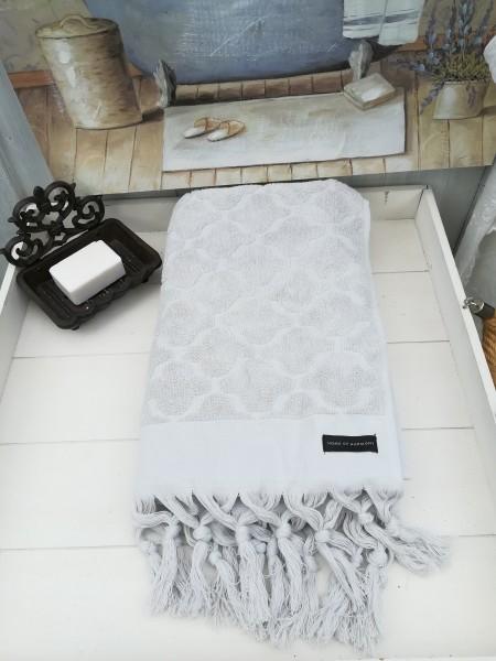 Duschtuch Bade Handtuch DINA Hell Grau 70 x140 cm Fransen